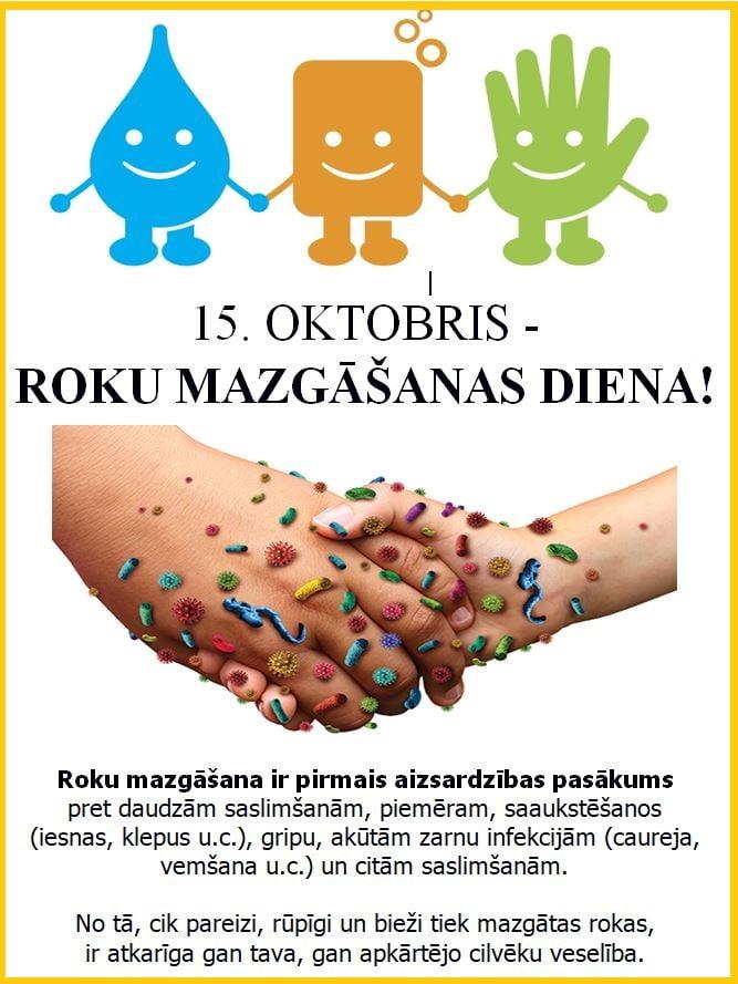 Mazgāsim rokas bieži, pareizi un – katru dienu!