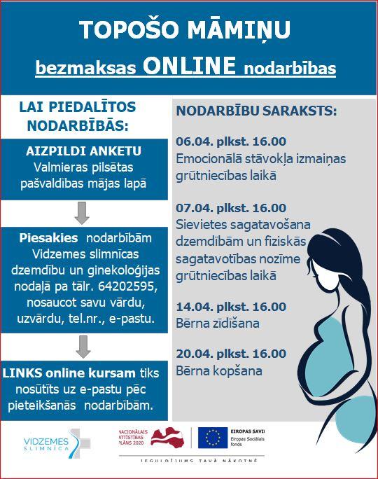 Topošo māmiņu bezmaksas nodarbības tiešsaistē aprīlī