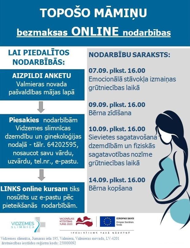 Ērtas un bezmaksas tiešsaistes nodarbības topošajām māmiņām septembrī