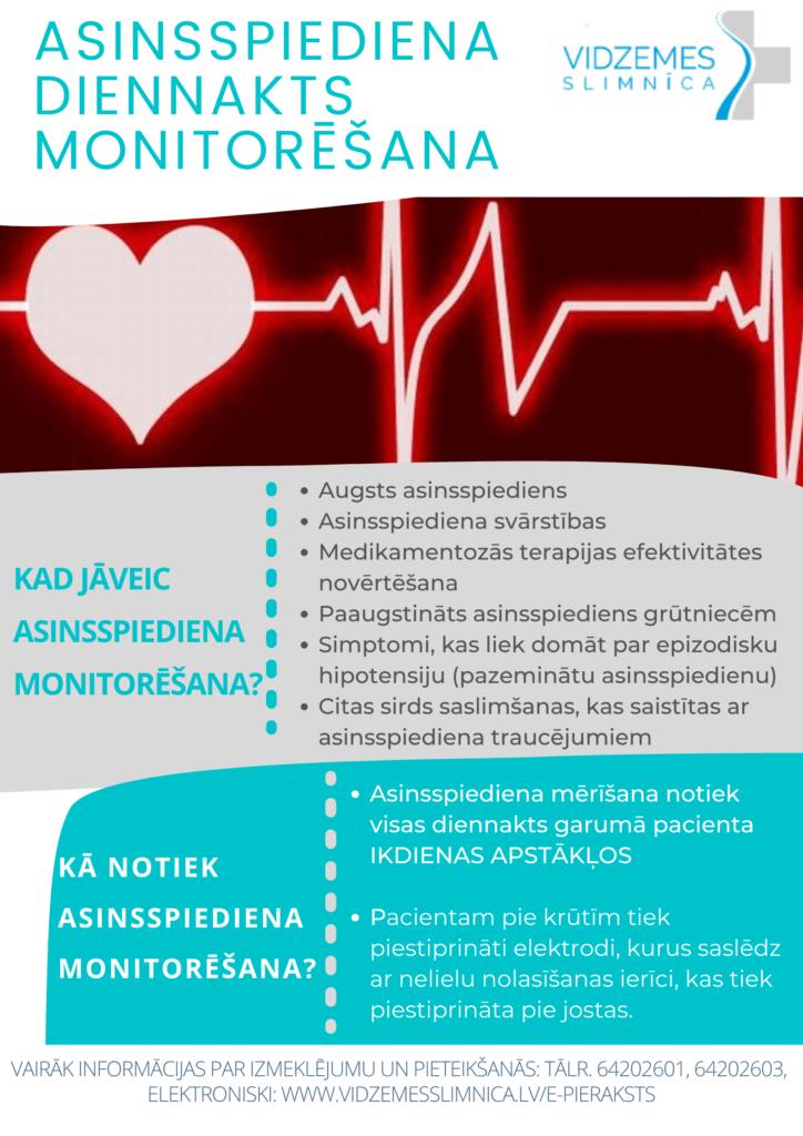 Pieejams izmeklējums – 24 h asinsspiediena monitorēšana