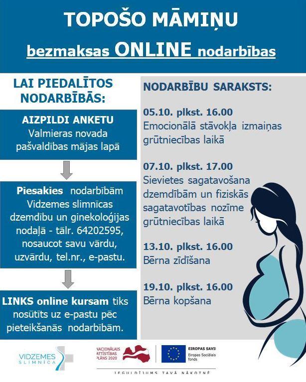 Topošo māmiņu nodarbības tiešsaistē oktobrī